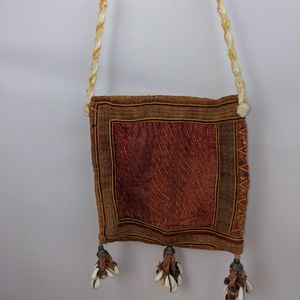 Thailand Hill tribe hand woven conch shells bag